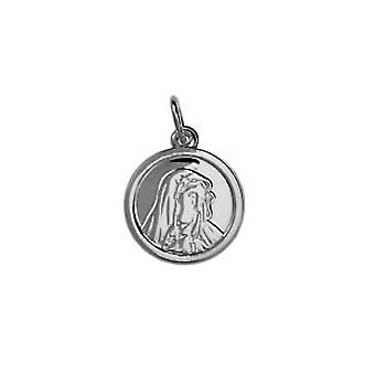 Silver 13mm round Our Lady of Sorrows Pendant