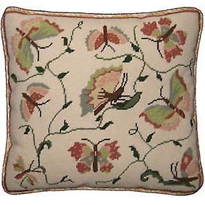 Rosa och gröna fjärilar Needlepoint Canvas