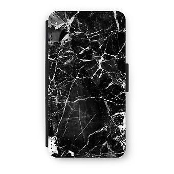 iPhone X フリップ ケース - ブラック大理石 2