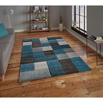 Brooklyn 646 Rectangle gris bleu tapis tapis modernes