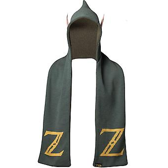 Nintendo Legend of Zelda Logo Hooded Knitted Scarf with Ears One Size Green