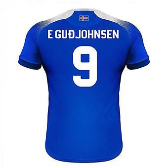 2018-2019 Islanti koti Errea jalkapallopaita (E Gudjohnsen 9)