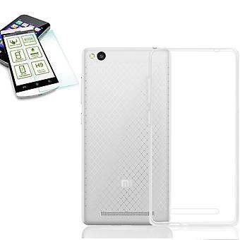 Silikoncase gennemsigtig + 0.3 H9 hærdet glas for Xiaomi Redmi 3 Pocket taske ny
