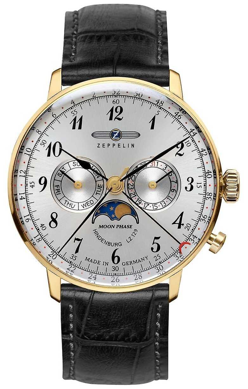 Zeppelin Hindenburg Moonphase Yellow Gold Case Hesalite Crystal 7038-1 Watch