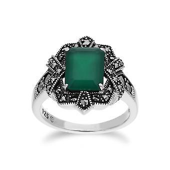 Art-Deco-Stil Baguette grün Chalcedon & Marcasite Ring in 925 Sterling Silber 214R570809925