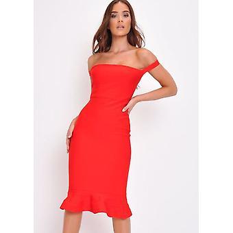 Vendaje Frill dobladillo Bodycon vestido rojo