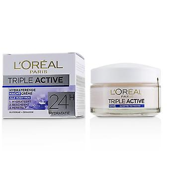 L ' Oreal Triple aktiivinen Kosteuttava yövoide 24h nesteytys-kaikille ihotyypeille-50ml/1.7 oz
