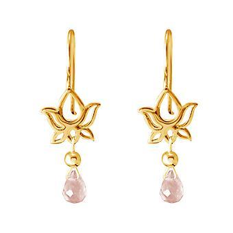 Boucles d'oreilles GEMSHINE pour femmes plaquées argent, YOGA mandala lotus fleur rose