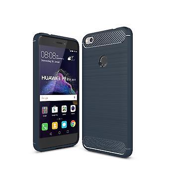 Huawei P8 Lite 2017 TPU case carbone fibre optique brossé bleu boîtier protecteur
