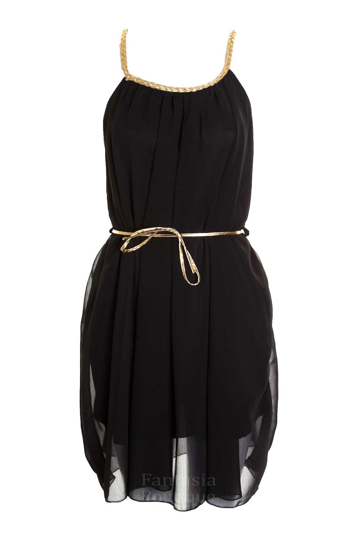 Ladies Gold Strap Plain Black Gold Bow Belt Evening Womens Dress