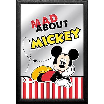 Mickey Mouse mirror mad about Mickey colorful, printed, with black plastic frame in wood.