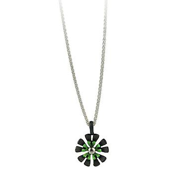 Ti2 Titanium Black zurück zehn Petal Flower Anhänger - frisches Grün