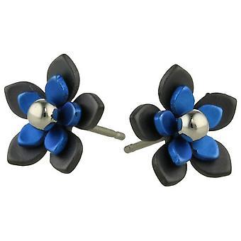 TI2 titanio nero indietro cinque petalo fiore orecchini - blu Navy