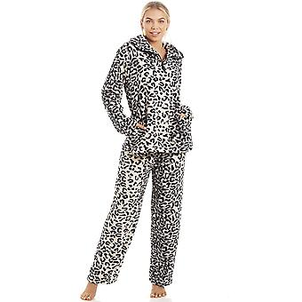 Camille Luxurious Supersoft Fleece Grey Snow Leopard Print Pyjama Set