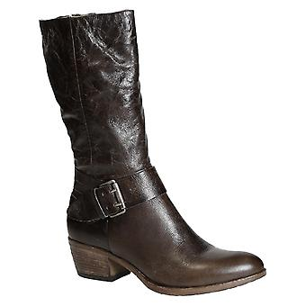 Handmade western heels mid-calf boots in brown leather