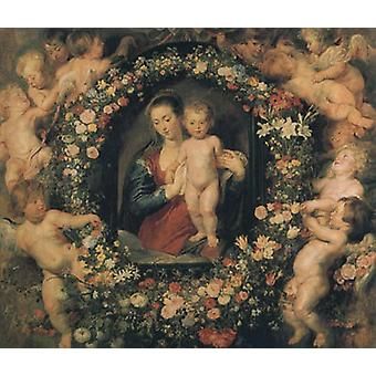 Madonna and Child with Garland of Flowers and Putti, Peter Paul Rubens