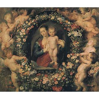 Madonna und Kind mit Girlande aus Blumen und Putti, Peter Paul Rubens
