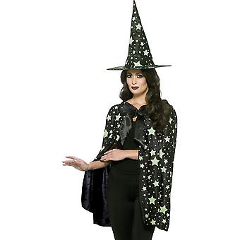 Midnight Witch Kit, Black & Glow in the Dark, with Cape & Hat