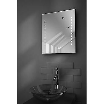 Dream Ultra-Slim Bathroom Mirror With Clock, Demister & Sensor k190