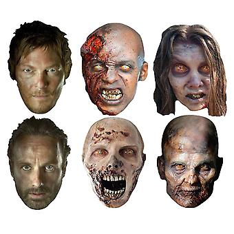 The Walking Dead Party Card Fancy Dress Masker Sort Sæt med 6