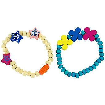 The Olivia Collection Children Pack Of 2 Beige & Blue Wood Bead Bracelets