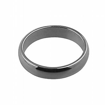 9ct White Gold plain D shaped Wedding Ring 4mm wide in Size P