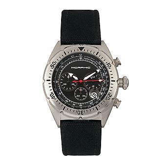 Morphic M53 serien Chronograph Fiber-vävt läder-Band Watch w/datum-Silver/svart