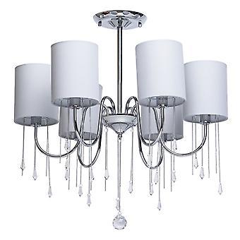 Glasberg - Chrome Six Light Semi-Flush With Grey Shades And Crystals 379018506