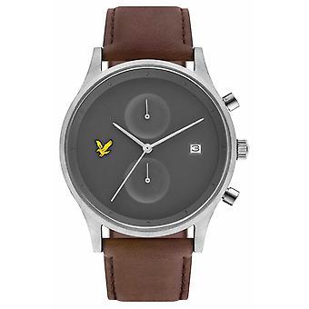 Lyle & Scott Mens den hopp Chronograph brun läderrem grå urtavla LS-6007-03 Watch