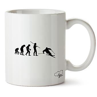 Hippowarehouse Skiing Evolution Printed Mug Cup Ceramic 10oz