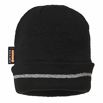Portwest - Reflective Trim Knit Hat Insulatex Lined Black Regular