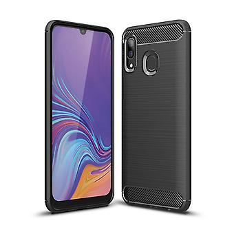 Samsung Galaxy A40 Fibra de carbono Textura shell-Negro