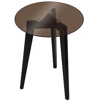 Luna-retro Solid Wood állvány láb és kerek üveg vége/oldalsó asztal-fekete/színezett