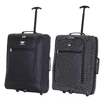 Slimbridge Montecorto Set van 2 cabine Bagage tassen, (Set van zwart en zwarte puntjes)