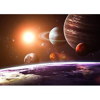 Tapet väggmålning solsystemet