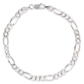 Bracelet Argent Rhodié Maille Creuse Alternée 21cm