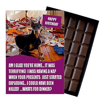 Doberman divertidos regalos de cumpleaños para el amante del perro en caja tarjeta de felicitación de chocolate presente