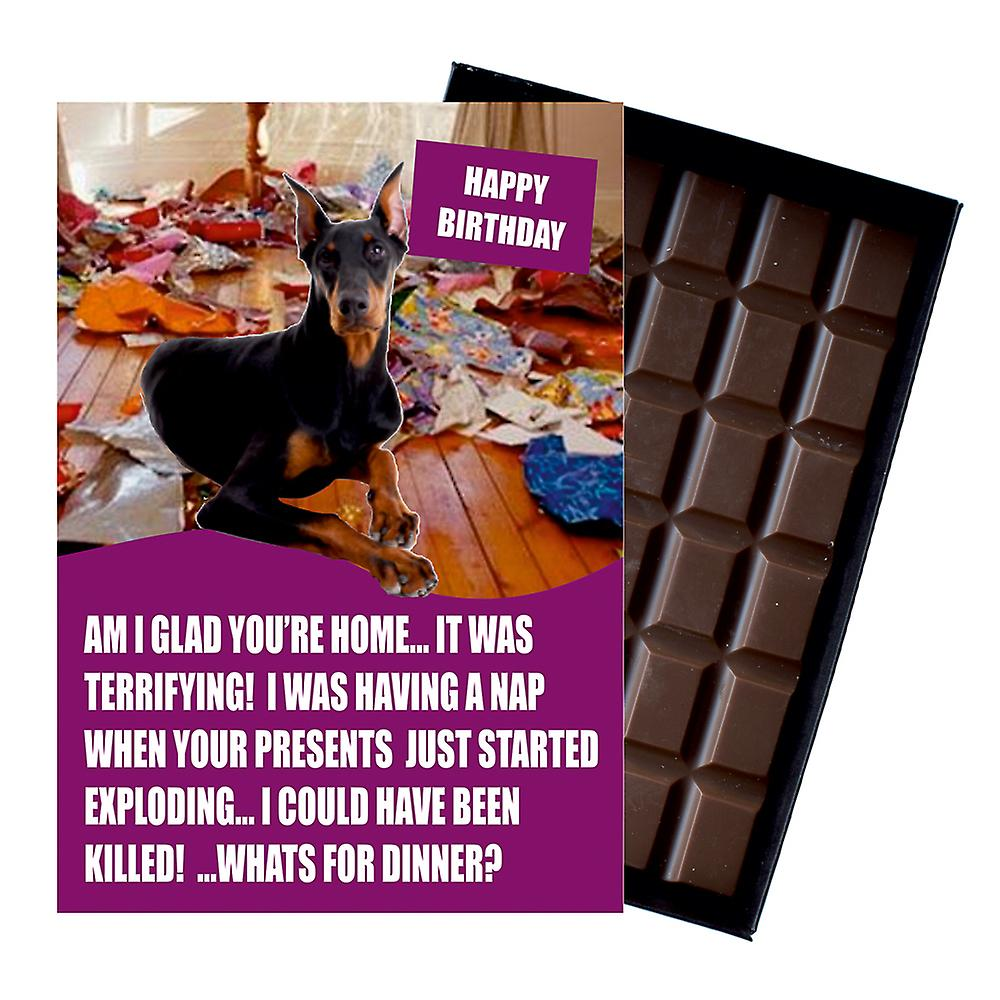 Doberman Funny Birthday Gifts For Dog Lover Boxed Chocolate Greeting Card Present