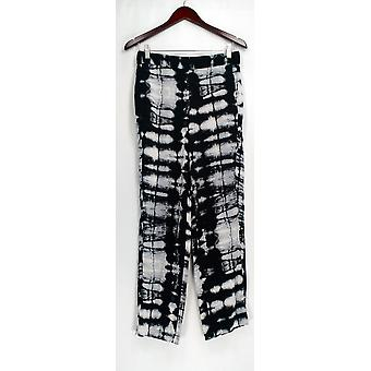 CHAUS New York Pants Skinny Leg Pull On Pocketed Print Detail Black
