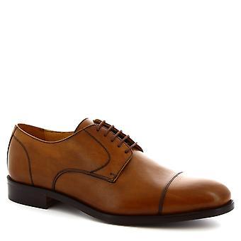 Leonardo Shoes Men's handmade fashion oxford lace-ups shoes tan calf leather