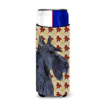 Scottish Terrier Fall Leaves Portrait Ultra Beverage Insulators for slim cans SS