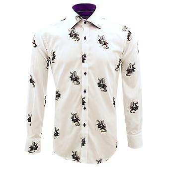 Claudio Lugli Vintage Microphone Print Long Sleeve Pure Cotton Mens Shirt