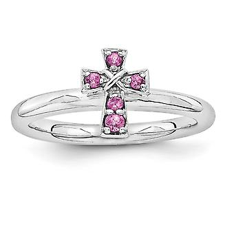 2.25mm 925 Sterling Silver Rhodium-plated Stackable Expressions Rhodium Rho. Garnet Cross Ring - Ring Size: 5 to 10