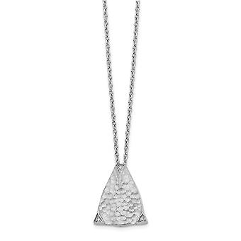 925 Sterling Silver Polished Gift Boxed Spring Ring Rhodium plated White Ice Textured Triangle Diamond Pendant Necklace