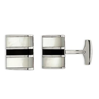 Stainless Steel Polished Cuff Links with Black Onyx and Mother of Pearl