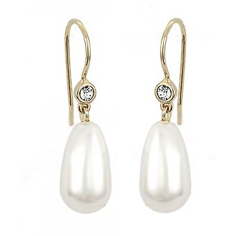 Traveller drop earring - 15x8mm white pearl - 22ct gold plated - 114101