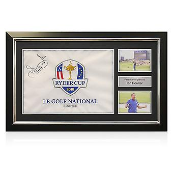 Ian Poulter signiert 2018 Ryder Cup Pin Flagge gerahmt