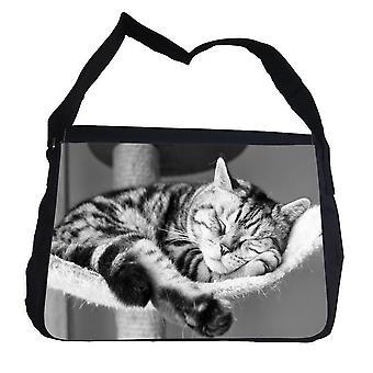 Sleeping tabby kitten bag with shoulder strap