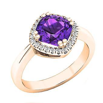 Dazzlingrock Collection 10K 7 MM Cushion Amethyst & Round Diamond Ladies Halo Engagement Ring, Rose Gold
