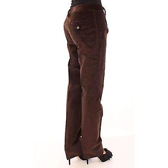 Dolce & Gabbana Brown Corduroys Straight Logo Casual Pants -- MOM1931269